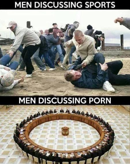 hombres discutiendo deporte o porno
